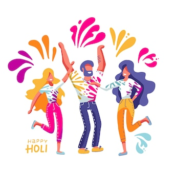 Group of young people celebrates holi. men and women throw colored paint.  illustration in flat hand drawn style with lettering