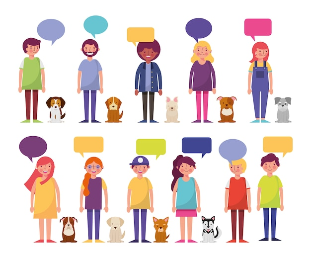 Group of young people and dogs characters