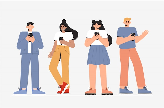 Group of young people male and female standing and using phone.