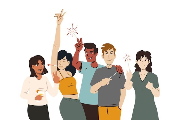 Group of young people partying memory
