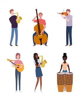 Group of young people playing musical instruments