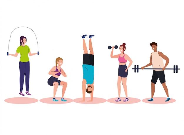 운동, 스포츠 레크리에이션 개념을 연습하는 젊은 사람들을 그룹화