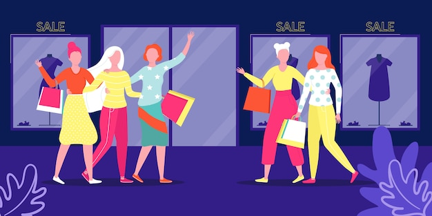 Group young people in shop, sale  illustration. woman walk store with bag. girl in shopping center with purchase, attractive lifestyle city. lady holding gift, fashionable clothes in background.