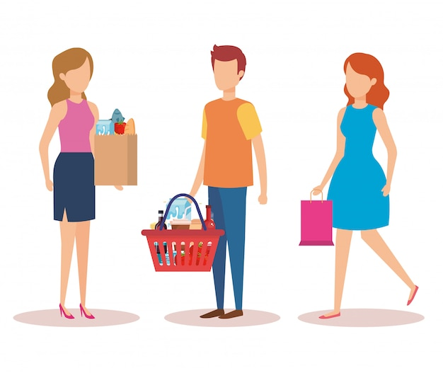 Group of young people shopping characters