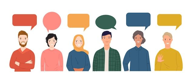 Group of young people speaking together with colorful dialog speech bubbles.