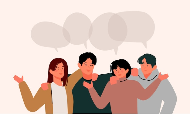 Group of young people talking with speech bubbles