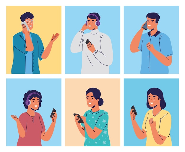 Group of young people using smartphones characters