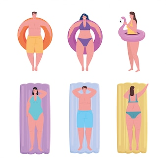 Group young people using swimsuit in the lying inflatable float, summer vacation season vector illustration design