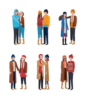 Group of young people with winter clothes