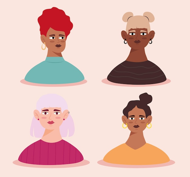 Group of young women avatars characters