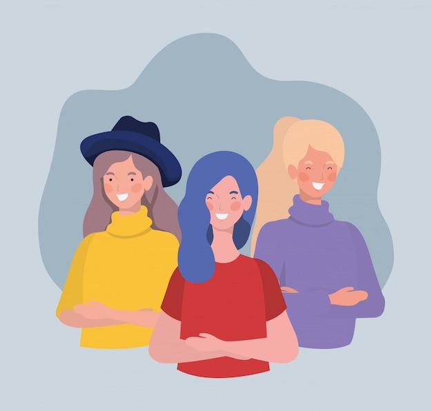Gruppo di giovani donne in piedi personaggi Vettore gratuito