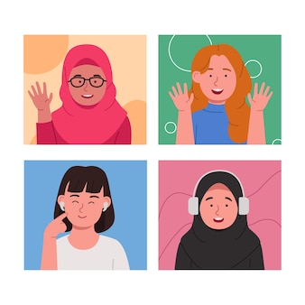 Group of young women video calling flat cartoon illustration