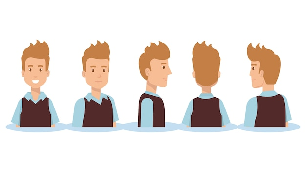 Group of youngs men poses styles vector illustration design
