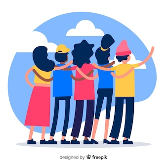 Group of youth people hugging together