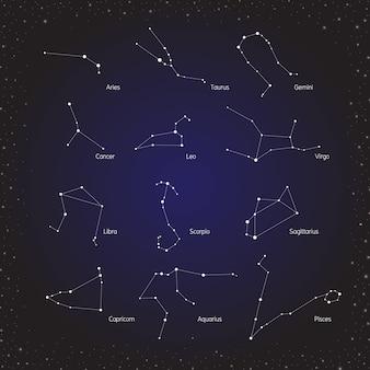 Group of zodiac horoscopes