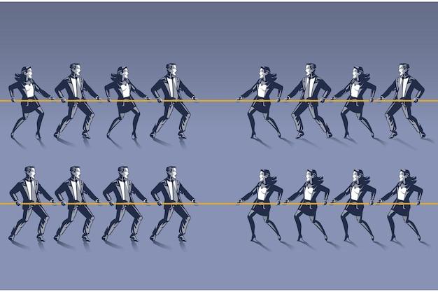 綱引きゲームのブルーカラーの男性と女性のグループ
