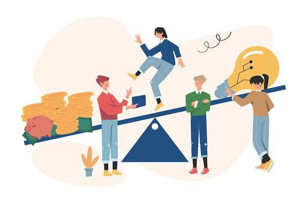 스윙에 대한 아이디어로 돈을 균형 잡는 사람들의 그룹