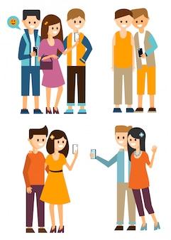 Группы молодежи делают селфи и общаются в социальных сетях