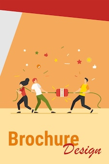 Groups of people pulling rope in tug of war play. struggling team competing with each other. vector illustration for game, contest, competition, confrontation concept