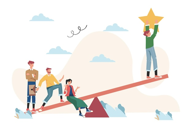 Groups of people on a swing and outweighs them to get a star from the sky, achieving success