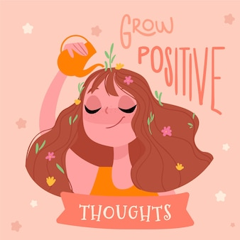 Grow positive thoughts self love lettering