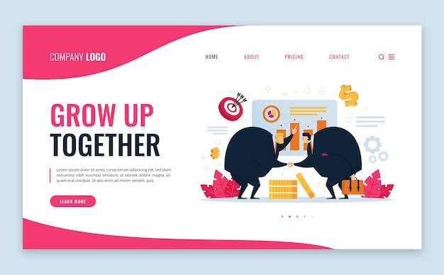 Grow up together business marketing flat landing page