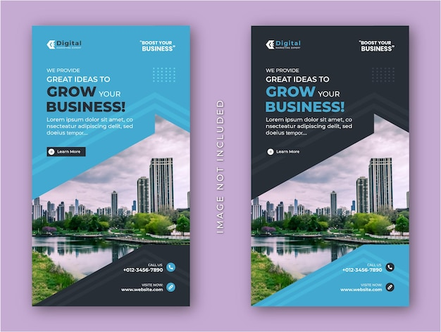 Grow your business  agency and corporate flyer modern instagram stories social media post banner template