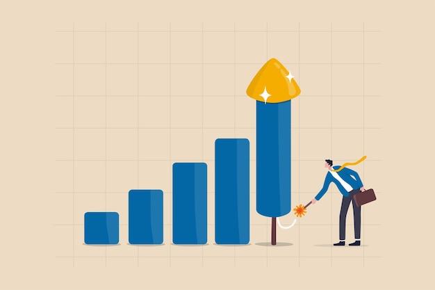 비즈니스 성장, 투자 이익 또는 수입 증대, 성장 또는 경제 붐, 경력 개발 개념, 똑똑한 사업가가 회사 성장을 높이기 위해 폭죽 로켓 막대 그래프를 점화합니다.