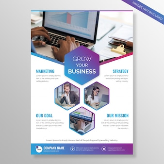 Grow your business brochure with multi color hexagon shapes