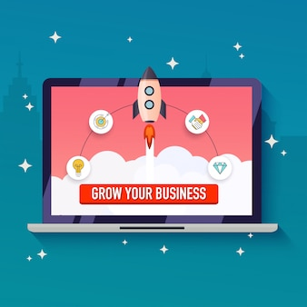 Grow your business concept. flat design modern  illustration.