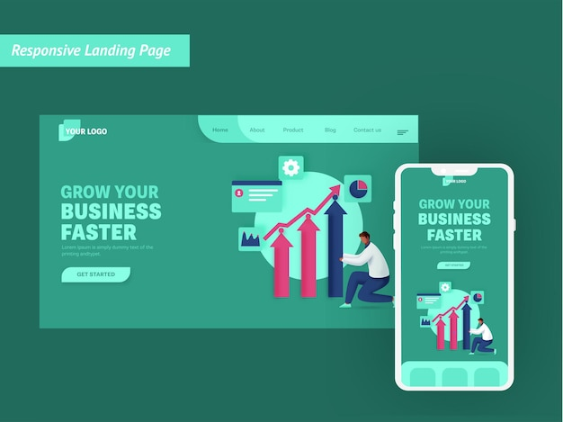 Grow your business faster based landing page in green color for mobile application.