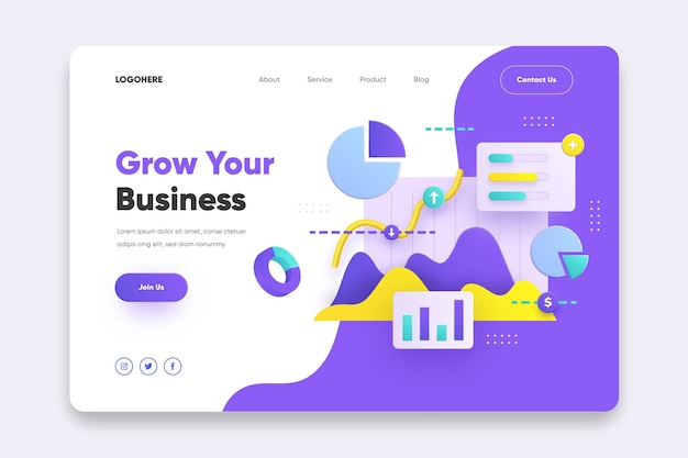 Grow your business landing page template