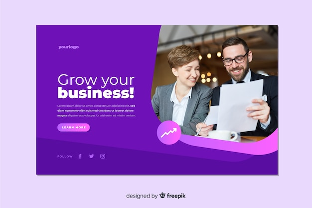 Grow your business landing page with image