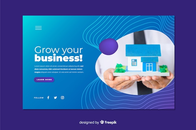 Grow your business landing page with photo