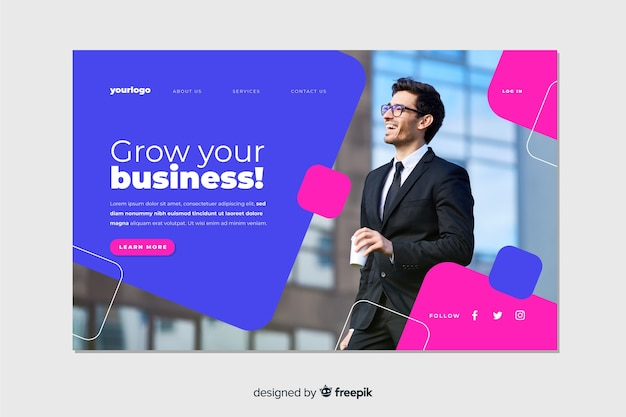 Grow your business landing page with picture