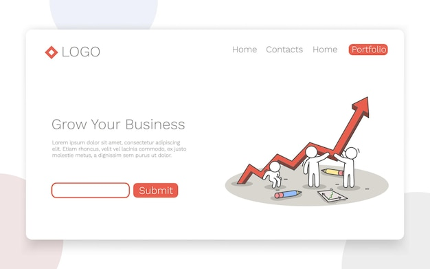 Grow your business. teamwork and success concept. landing page concept