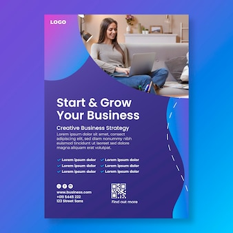Grow your business vertical flyer template