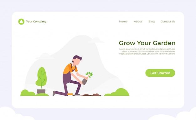 당신의 정원 방문 페이지를 성장 프리미엄 벡터