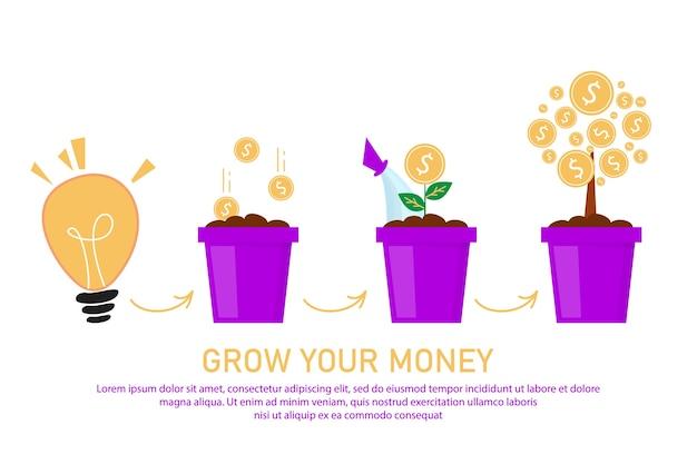 돈 웹 배너 템플릿 디자인을 성장 시키십시오. 냄비에 돈을 넣고 나무를 키우세요.