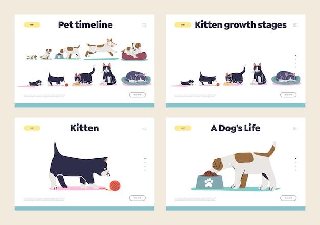 작은 강아지, 새끼 고양이, 캔, 개가 있는 방문 페이지 세트의 국내 애완동물 개념의 성장 및 노화