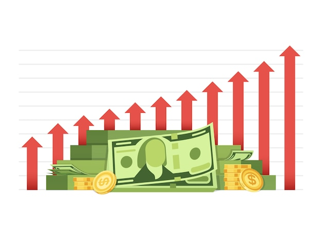 Growing business chart with pile of money cash financial vector concept