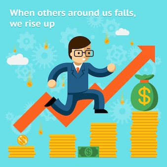 Growing business in financial crisis concept. economy and money, coin and success. when others falls, we rise up. vector illustration