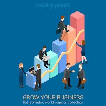 성장하는 비즈니스 infographics 템플릿 개념 평면 3d 웹 아이소 메트릭. 차트 작업을하는 기업인이 성장합니다. 창조적 인 사람들 컬렉션. 인포 그래픽을 만드세요.