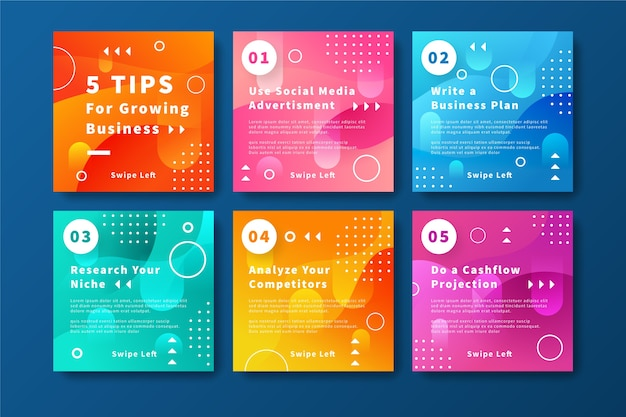 Growing business tips instagram post collection
