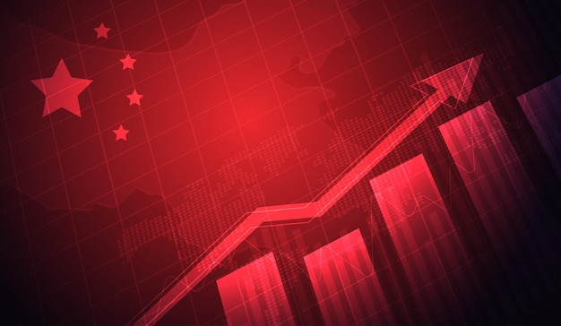 Growing chart against the background of the china flag candlestick graph stock market exchange