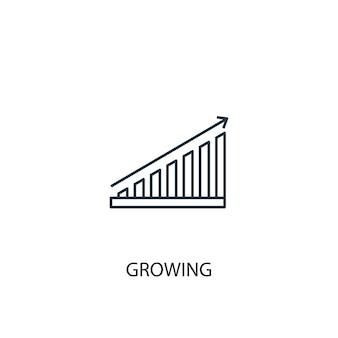 成長するコンセプトラインアイコン。シンプルな要素のイラスト。成長するコンセプトアウトラインシンボルデザイン。 webおよびモバイルui / uxに使用できます