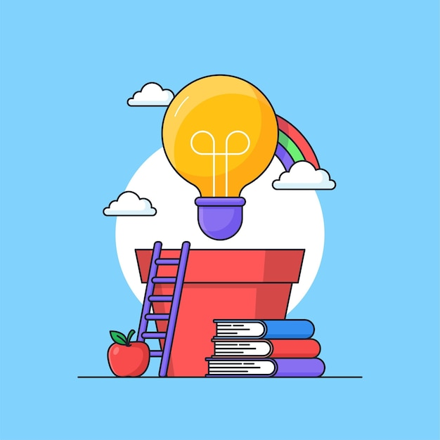 Growing creative work inspiration idea visual concept design with light bulb on pot and books