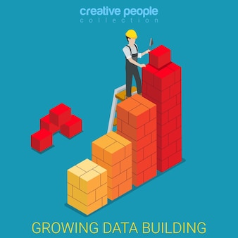 成長するデータ構築フラットアイソメトリック
