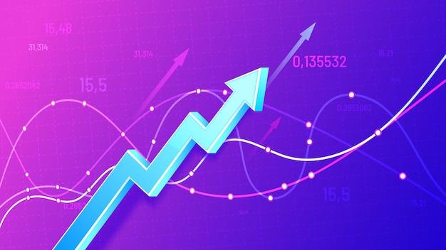 Freccia 3d di pianificazione finanziaria in crescita