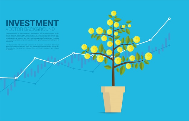Growing money tree with coin and graph background template
